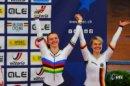 Zur Bahn-EM in Gent gewannen Alessa-Catriona Pröpster (links) und Christina Sperlich (SV Sömmerda) Bronze im Teamsprint